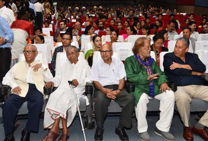 Ranjit Barthakur with some of the other awardees and audience at the ceremony